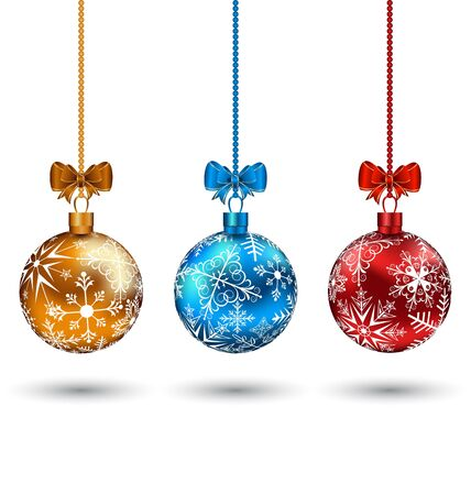 Illustration Christmas multicolor balls with bows isolated on white background  illustration
