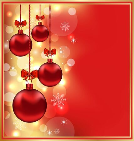 Illustration holiday glowing background with Christmas balls  illustration