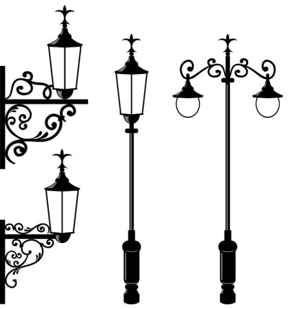 Illustration set of vintage various streetlamp  illustration