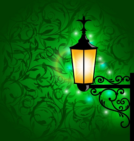 Illustration arabic lamp with lights, card for Ramadan Kareem  illustration