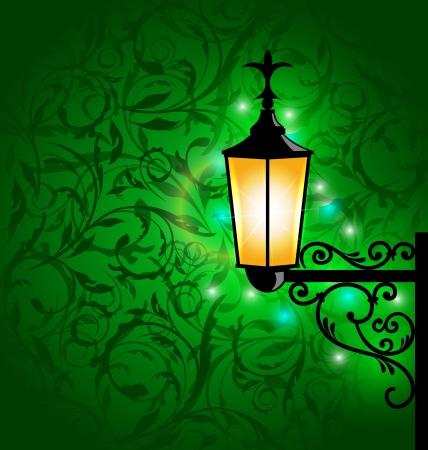 aglow: Illustration arabic lamp with lights, card for Ramadan Kareem