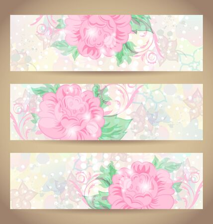 Illustration set romantic beautiful cards with flower Stock Illustration - 15845792