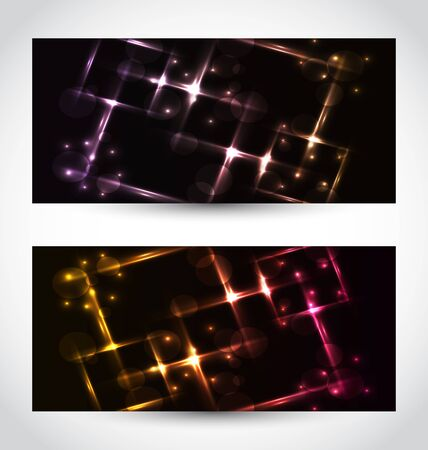Illustration set abstract cards with glow effects  illustration