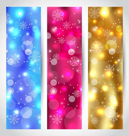 Illustration set Christmas wallpaper with snowflakes  Stock Illustration - 15845874