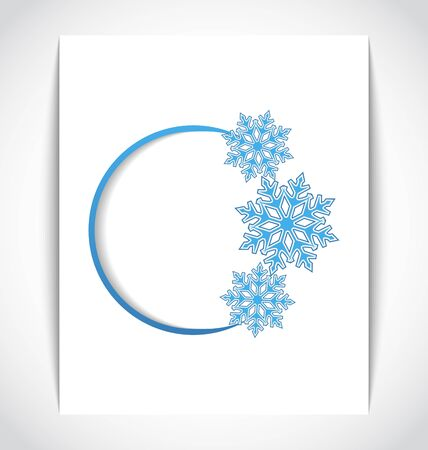 Illustration template frame design with christmas snowflake illustration