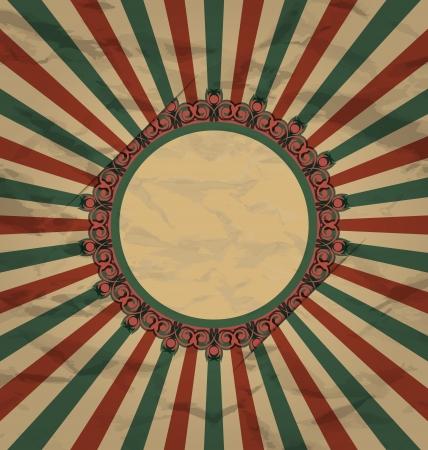 artboard: Illustration retro vintage grunge label on sun rays background