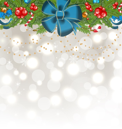 Illustration Christmas glowing background with holiday decoration  illustration