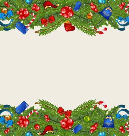 Illustration Christmas elegance background with holiday decoration  illustration