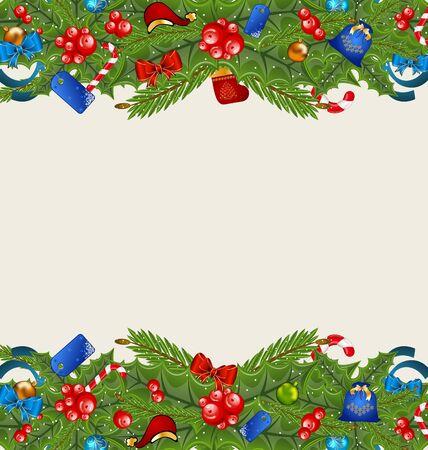 weihnachten: Illustration Christmas elegance background with holiday decoration  Stock Photo