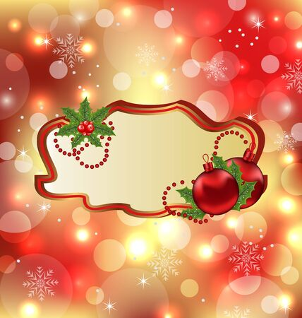 Illustration greeting elegant card with mistletoe and Christmas ball  illustration