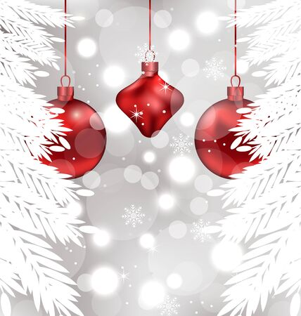 Illustration shimmering background with Christmas balls - vector illustration