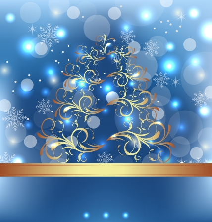 weihnachten: Illustration celebration card with abstract Christmas floral tree  Stock Photo
