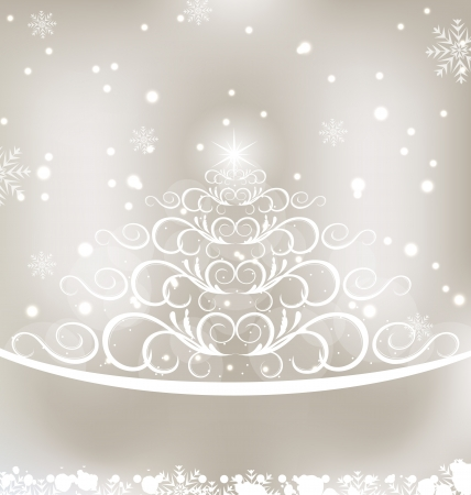 weihnachten: Illustration celebration glowing card with Christmas floral pine