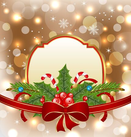 Illustration Christmas elegant card with holiday decoration Stock Illustration - 15875923