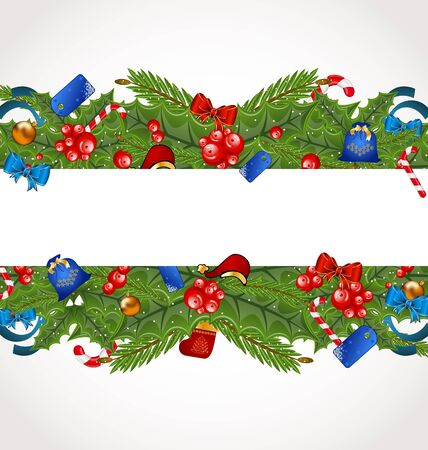 Illustration Christmas elegance card with holiday decoration - vector illustration