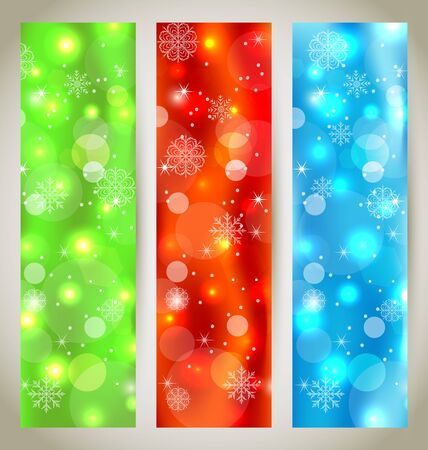 Illustration set Christmas glossy banners with snowflakes - vector Stock Illustration - 16356779
