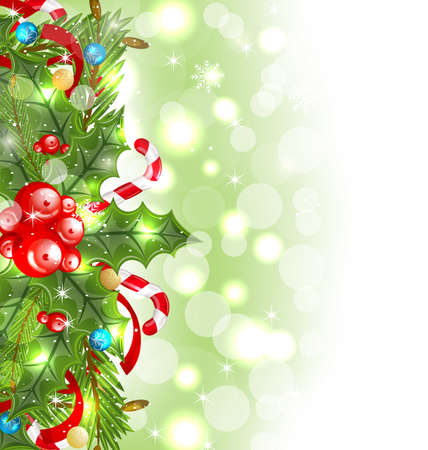 weihnachten: Illustration Christmas glowing background with holiday decoration - vector Stock Photo