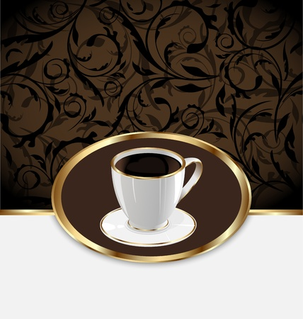 encasement: Illustration vintage label for wrapping coffee, coffee cup