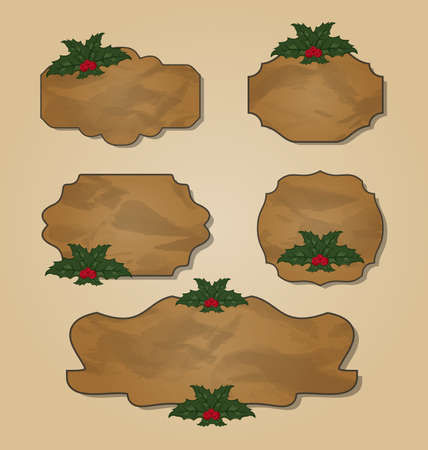 artboard: Illustration set crumpled paper label with holly berry