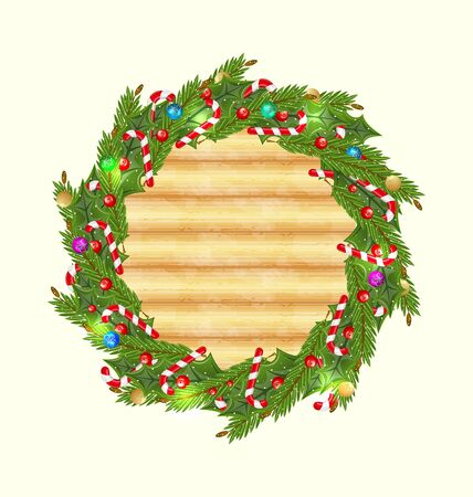 Illustration Christmas wood background with holiday wreath  illustration
