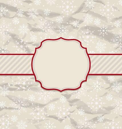 artboard: Illustration old vintage invitation with snowflakes