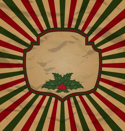 artboard: Illustration retro vintage celebration card with holly berry