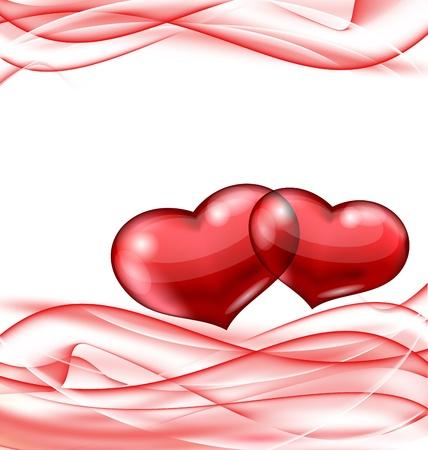 Illustration cute hearts, Valentine wavy background Stock Illustration - 17433382