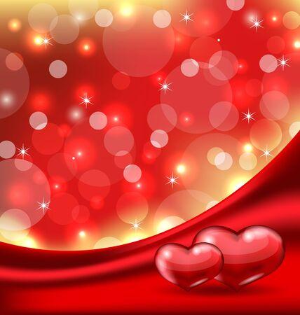 Illustration Valentine's card with beautiful hearts Stock Illustration - 17433381
