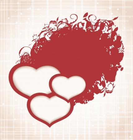 Illustration Valentine's Day grunge background with hearts   Stock Illustration - 17432972