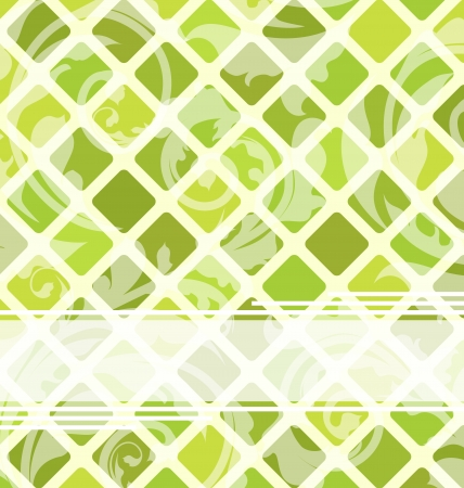 grid texture: Illustration mosaic template with floral ornament - vector