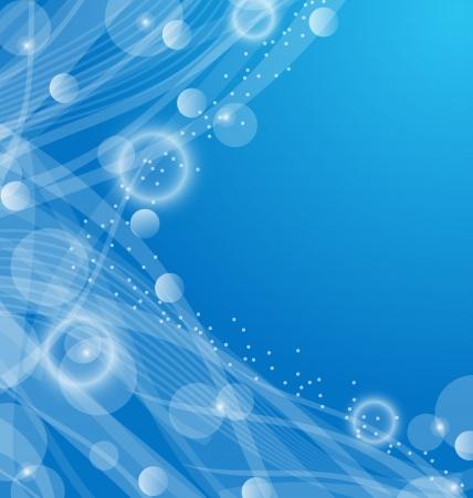 digital frame: Illustration abstract blue wavy background, design template - vector