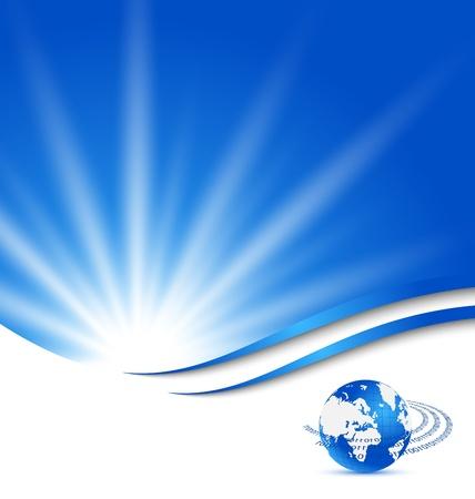 hojas membretadas: Ilustraci�n abstracta tarjeta azul con el planeta Tierra - vector