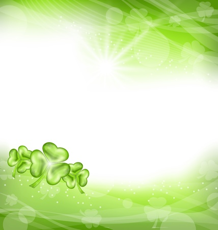 Illustration St. Patrick Day green clover background - vector Stock Vector - 17968350