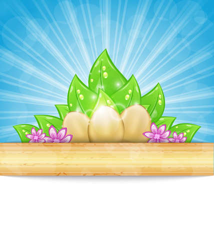pascua: Illustration Easter background with eggs, leaves, flowers - vector Illustration
