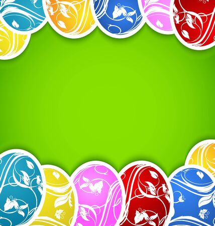 pascua: Illustration Easter background with set colorful ornate eggs - vector
