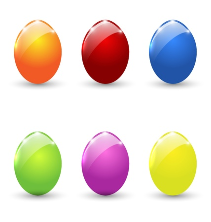 Ostern: Illustration Easter set colorful eggs isolated - vector Illustration