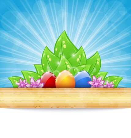 Illustration Easter background with colorful eggs, leaves, flowers - vector