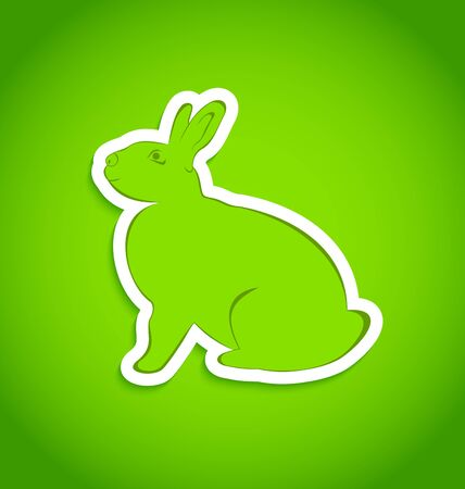 Illustration of Easter greeting rabbit isolated - vector Vector