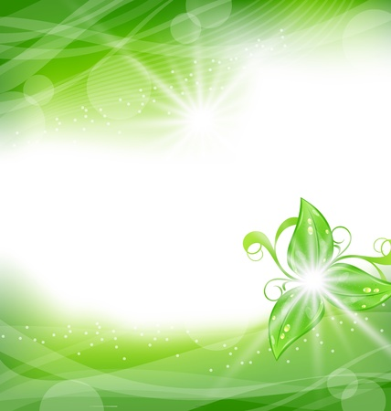 Illustration eco friendly background with green leaves - vector Vector