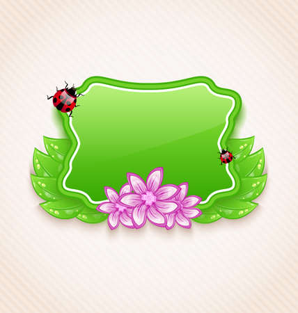 Illustration cute spring card with flower, leaves, lady-beetle - vector Vector