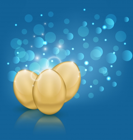 pascua: Illustration Easter card with golden eggs - vector