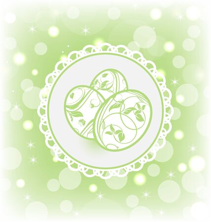 pascua: Illustration Easter card with ornate eggs - vector