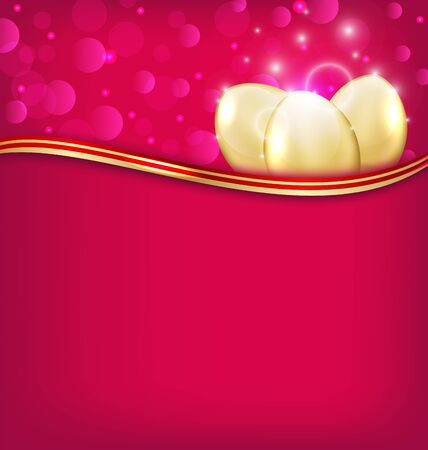 uova d oro: Illustrazione invito Pasqua con le uova d'oro - vettore Vettoriali