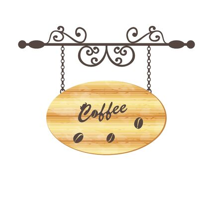 Illustration wooden sign with coffee bean, floral forging elements - vector Vector