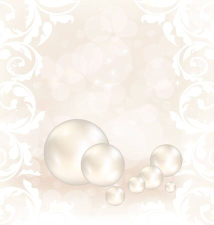 Illustration romantic card with set pearl  illustration