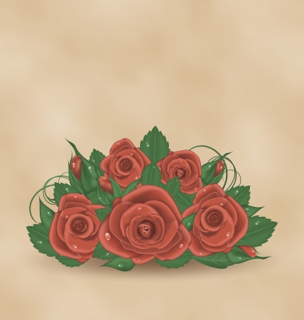 Illustration vintage cute card with bouquet roses   illustration