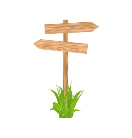 Illustration wooden signboard for guidepost, grass