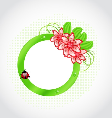ladybeetle: Illustration cute spring label with flower, leaves, lady-beetle