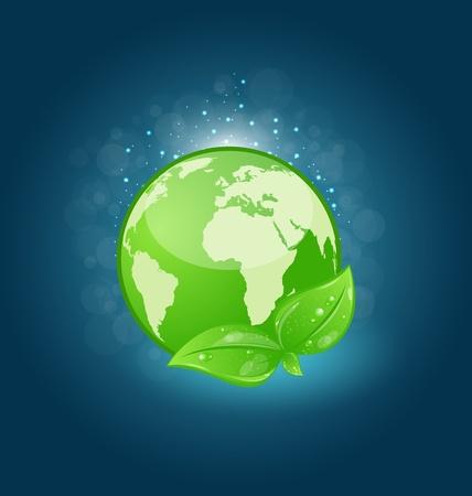 Illustration global planet and eco green leaves Stock Illustration - 18433932