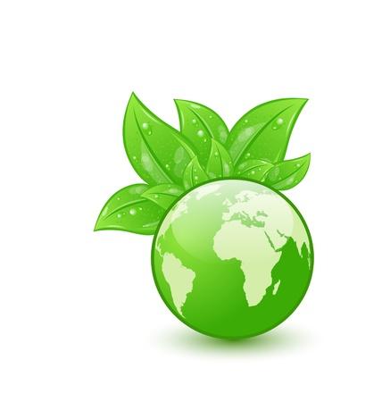 Illustration global planet and eco green leaves Stock Illustration - 18433936